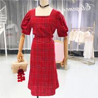 方领高腰显瘦格子中长裙女装2018夏季韩版短袖修身百搭连衣裙