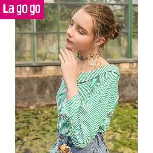 Lagogo2018春季新款条纹长袖小清新一字领衬衫女装甜美娃娃领上衣