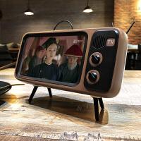 手机支架桌面创意复古电视支架卡通少女可爱懒人支架怀旧电视机TV苹果手机支架蓝牙音箱小型低音炮ins超 咖啡+白 升级版