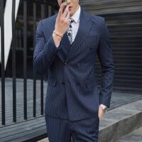 大码西服套装男士三件套条纹西装修身新郎结婚帅气加肥加大双排扣