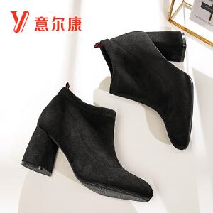【满减到手价:158】意尔康女鞋粗跟中高跟短筒深口女鞋高跟鞋