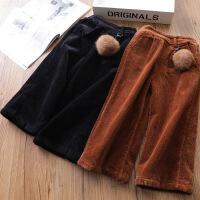 17新款超细绒加厚女童加绒阔腿裤加绒灯芯绒裤儿童长裤冬A5-B33