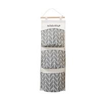 杂物储物袋收纳袋棉麻防水收纳挂袋悬挂式多层挂兜布艺门后 灰色 三兜灰色67*20cm 如图