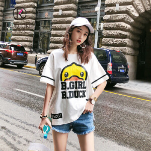 欧若珂    夏季新款小黄鸭时尚印花白色短袖T恤女宽松上衣打底衫女