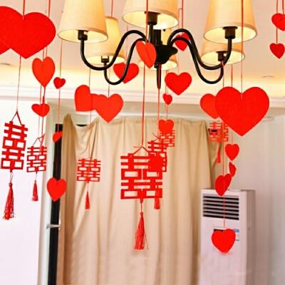婚房装饰 喜字吊坠 结婚吊饰拉花用品 浪漫婚礼卧室装饰创意挂饰 一般在付款后3-90天左右发货,具体发货时间请以与客服协商的时间为准