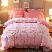 韩版珊瑚绒四件套加厚法莱绒冬季保暖水晶绒床单被套床上法兰绒 粉红色 花意满枝-粉