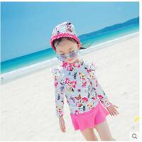 可爱沙滩女童孩甜儿童韩版泳装中大童美游泳衣分体裙式长袖防晒