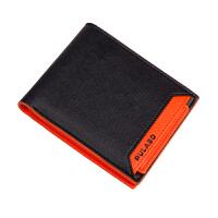 男士短款钱包 驾驶证卡包 女韩版情侣学生撞色创意钱包西装钱夹零长短女学生卡 橙色