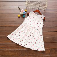 童装 儿童棉麻连衣裙 女童背心裙夏1--6岁中小童装公主裙宝宝裙子 白色 樱桃裙