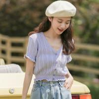 香芋紫泡泡袖上衣少女感紫色短袖冰�z��衫短款束高腰露�t恤潮