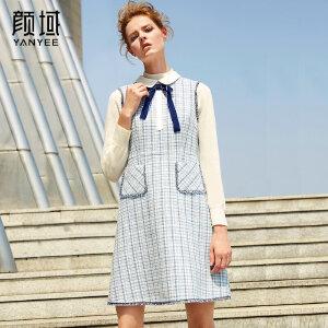 颜域品牌女装2017冬季新款蝴蝶结娃娃领打底裙无袖格子毛呢连衣裙
