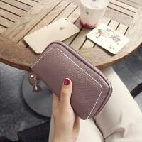 手拿钱包女真皮新款欧美大容量女士小手包简约百搭手机包手腕 香芋紫 (新品)