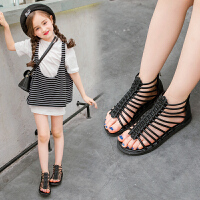 女童凉鞋中大童露趾罗马鞋夏季轻便复古小女孩儿童鞋