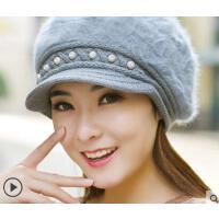 新品保暖加厚护耳兔毛针织毛线帽子女韩版潮百搭贝雷帽