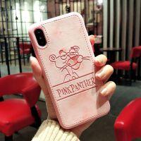 粉红豹iphonexs max卡通手机壳苹果78plus情侣6s软皮面xr全包防摔