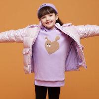 【1件4折价:79.6】moomoo童装女童卫衣裙冬装新款儿童长款加绒卫衣女孩趣味保暖上衣