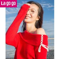 【618大促-每满100减50】Lagogo/拉谷谷2017年秋冬新时尚一字领个性长袖针织衫