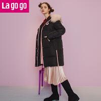 【每满200减100】Lagogo2017秋冬新款毛领黑色羽绒服中长款连帽加厚外套女装韩版潮