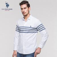 U.S. POLO ASSN.白衬衫男韩版修身商务衬衣长袖休闲帅气条纹衬衫2018新款
