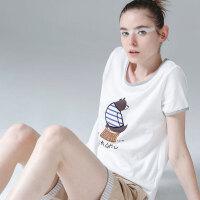 【夏装清仓价】初语白色T恤女2019夏季新款小熊印花短袖ins潮纯棉大码打底上衣~