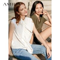 【到手价:122元】Amii极简小清新韩版衬衫女2019夏季新休闲拼接荷叶边浪漫无袖上衣