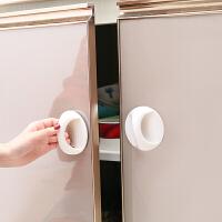 4个装创意圆形粘贴式辅助门窗拉手 橱柜门把手推拉衣橱柜玻璃拉手浴室移动门抽屉把手 白色4个装