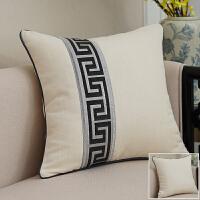 靠垫女王 新中式棉麻纯色条纹沙发抱枕靠枕 座椅靠垫腰枕靠背含芯 黑条纹左拼 白 60X60cm 外套+内芯