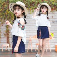 女童刺绣套装夏季新款中大童短袖雪纺套裙韩版女孩连衣裙