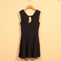 【秋二波】新款春8F1391简约纯色低领时尚无袖连衣裙