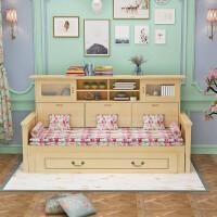 实木沙发床小户型多功能带储物书柜1.2米1.5米推拉坐卧两用1.8米 2米以上