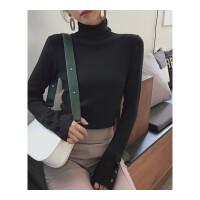 高领毛衣女秋冬打底衫2018新款内搭堆堆领黑色长袖加厚套头针织衫