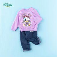 迪士尼Disney童装 女童套装纯棉圆领卫衣针织仿牛仔休闲长裤2件套2020年春季新品儿童衣服