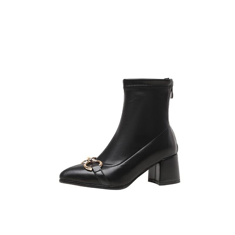 WARORWAR法国2019新品YG11-8257冬季欧美反绒粗跟鞋中高跟鞋女鞋潮流时尚潮鞋百搭潮牌靴子切尔西靴短靴