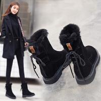 雪地靴女2018新款冬季潮保暖短筒短靴棉鞋防滑中筒厚底加绒雪地棉SN4493