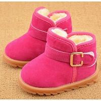 儿童雪地靴男童棉鞋小中童防滑女童靴子宝宝加绒短靴加厚冬季