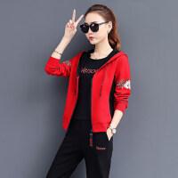 韩版卫衣三件套印花显瘦休闲服女装运动套装