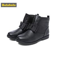 巴拉巴拉儿童靴子女童冬季鞋2018新款保暖加绒短靴冬季鞋潮大童鞋