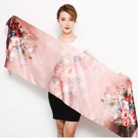 秋冬季真丝丝巾桑蚕丝羊绒双面双层围巾中国风保暖长款女旗袍披肩