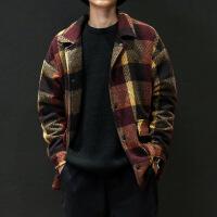 秋冬外套男毛呢大衣韩版潮流宽松帅气学生夹克加肥大码中长款外套