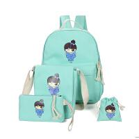 春夏四件套书包中学生女双肩包 日韩初中小学生帆布学院 浅绿色