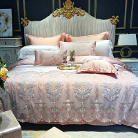 欧式简约粉色贡缎床上用品结婚庆四件套蕾丝双人床被套