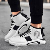 高帮板鞋潮男秋冬季潮牌嘻哈运动休闲潮鞋韩版潮流中邦增高男鞋子 A款 白色
