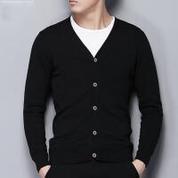 秋装针织开衫男薄款男士休闲纯色开衫毛衣修身线衣v领男外套