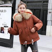 棉服 女士宽松型加厚立领套头衫冬季新款欧美女式时尚休闲舒适百搭学生棉衣