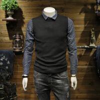 2018春秋季潮流条纹长袖衬衫男假两件针织线衫韩版修身青年衬