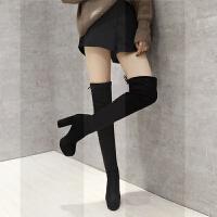 过膝长靴女秋冬季新款弹力长靴女欧美长筒靴防水台粗跟超高跟女鞋SN4364