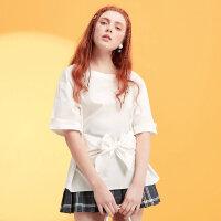 【2件2.5折到手价:29.8】美特斯邦威chic五分袖衬衫女蝴蝶结套头半袖衫夏装新款商场款