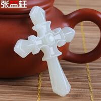 和田玉十字架吊坠 白玉耶稣玉坠玉器挂件玉佩 男女情侣款玉石项链 附