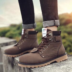 卡帝乐鳄鱼男鞋秋冬季马丁靴男潮高帮靴子沙漠军靴休闲英伦工装鞋