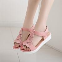 小女孩粉色花朵公主鞋儿童凉鞋真皮中大童7-8-9-10岁夏天女童鞋子SN8059